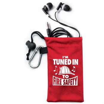 I'm Tuned In To Fire Safety Earbuds In Microfiber Pouch with Safety Tips