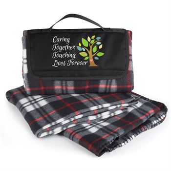 Caring Together Touching Lives Forever Plaid Fleece Blanket