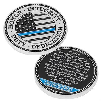 The Thin Blue Line Challenge Coin with Case