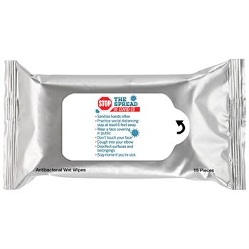 Stop The Spread Of Covid-19 Positive Message Antibacterial Wet Wipes - Pack of 15