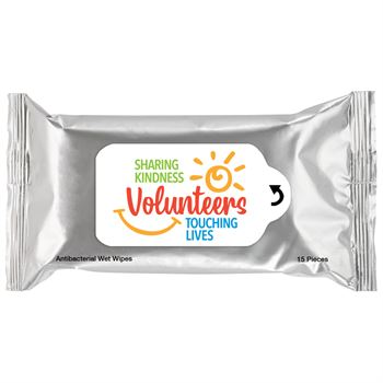 Volunteers: Sharing Kindness, Touching Lives Antibacterial Wet Wipes - Pack of 15