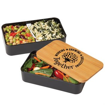 Working, Growing, Succeeding Together Eco-Friendly 2-Tier Wheat Fiber & Bamboo Bento Box