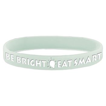 Be Bright * Eat Smart Glow In The Dark Silicone Wristband