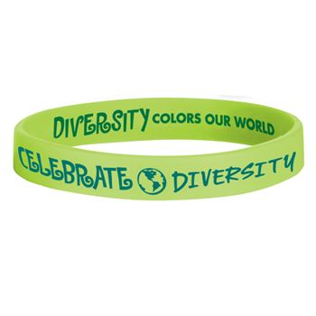 Celebrate Diversity/Diversity Colors Our World Green Silicone Bracelet