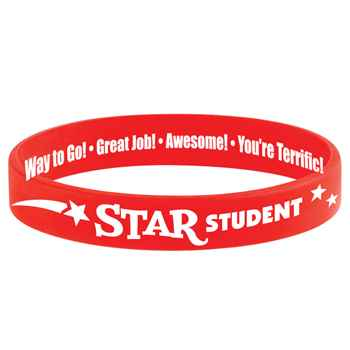 Star Student 2-Sided Red Silicone Bracelets - Pack of 10