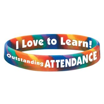 Outstanding Attendance 2-Sided Rainbow Silicone Bracelets - Pack of 10