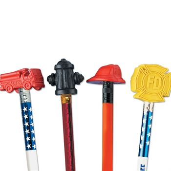 Fire Prevention Assorted Pencil Toppers - 25 Per Pack