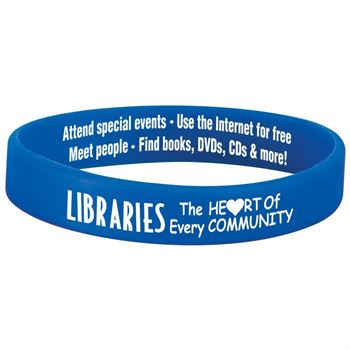 "Libraries: The Heart Of Every Community 1"" Wide Silicone Bracelet"