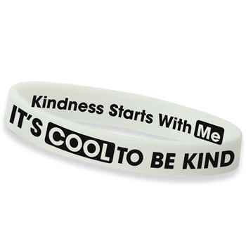 It's Cool To Be Kind Glow In-The-Dark 2-Sided Silicone Awareness Bracelets - Pack of 25
