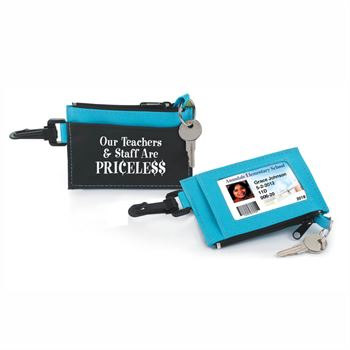 Our Teachers & Staff Are Priceless Blue Fabric Wallet WIth Key Ring