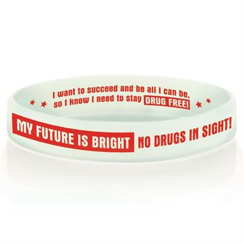 My Future Is Bright No Drugs In Sight Glow-In-The-Dark Red Ribbon Week Silicone Bracelets - Pack of 25