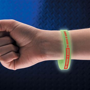 My Future Is Bright No Drugs In Sight! Glow-In-The-Dark 2-Sided Silicone Awareness Bracelet