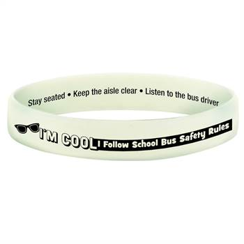 I'm Cool, I Follow School Bus Safety Rules Color-Changing 2-Sided Silicone Bracelet - 10 Per Pack