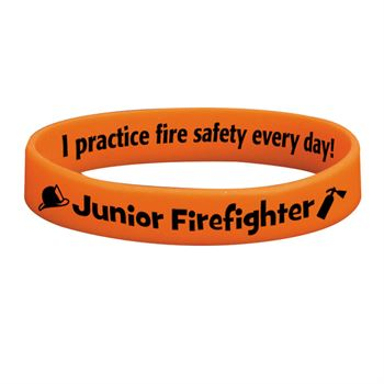 Junior Firefighter Glow-In-The-Dark Silicone Awareness Bracelet