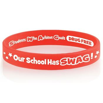 Our School Has SWAG! 2-Sided Red Ribbon Silicone Awareness Bracelets - Pack of 25