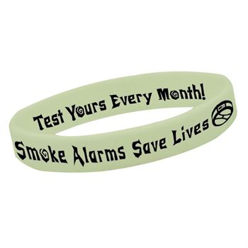 Smoke Alarms Save Lives Glow-In-The-Dark Silicone Awareness Bracelet - 25 Per Pack