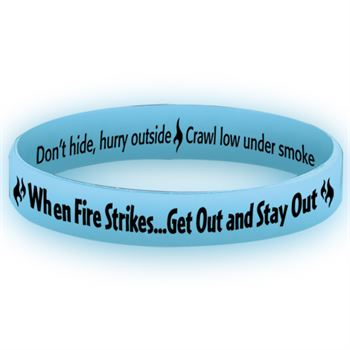 When Fire Strikes Get Out And Stay Out Glow-In-The-Dark Silicone Awareness Bracelet