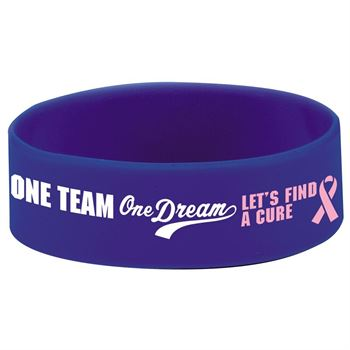 "One Team, One Dream Lets Find A Cure 1"" Wide Silicone Bracelet"