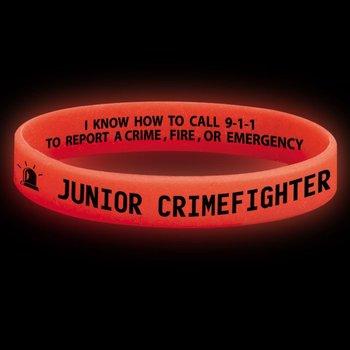 Junior Crimefighter Glow-In-The-Dark Silicone Awareness Bracelets