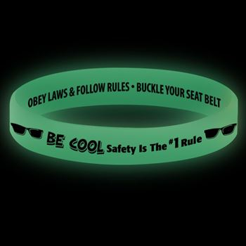 BE COOL Safety Is The #1 Rule Glow-In-The-Dark Silicone Awareness Bracelets