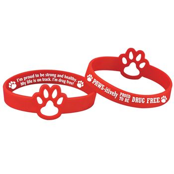 Paws-itively Proud To Be Drug Free Die-Cut 2-Sided Red Ribbon Silicone Bracelet - Pack of 25