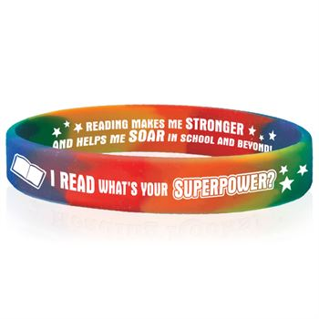 I Read, What's Your Superpower? 2-Sided Silicone Bracelets - Pack of 10