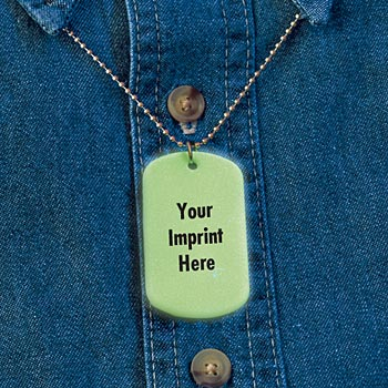 Glow-In-The-Dark Message Dog Tag (Green) - Personalization Available