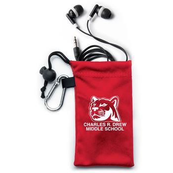 Earbuds In Red Microfiber Pouch - Personalization Available
