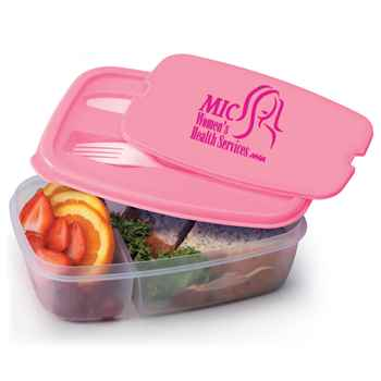 Pink 2-Section Food Container With Utensils - Personalization Available