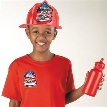Patriotic Junior Firefighter Plastic Badge