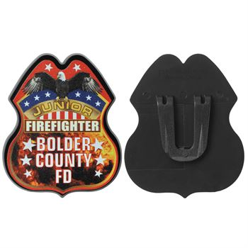 Plastic Junior Firefighter Badge - Personalization Available
