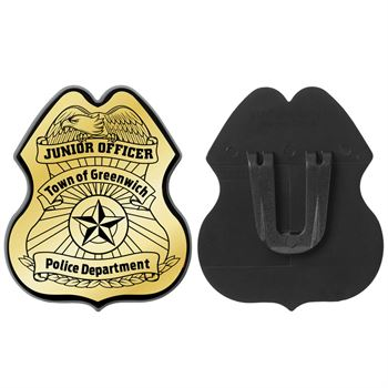 Gold Junior Officer Plastic Badge - Personalization Available