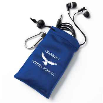 Earbuds In Blue Pouch - Personalization Available