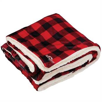 Embroidered Buffalo Plaid Mink Sherpa Blanket - Personalization Available