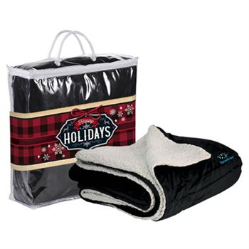 Microfleece Sherpa Blanket With Holiday Sleeve - Personalization Available