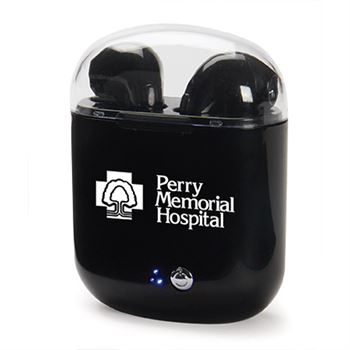 Black Wireless Bluetooth Earbuds with Charging Case - Personalization Available