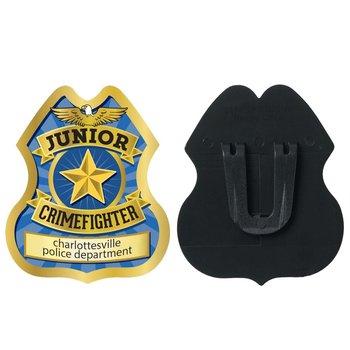 Gold Junior Crimefighter Plastic Badge - Personalization Available