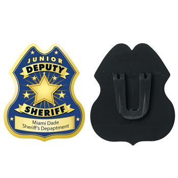 Gold Junior Deputy Sheriff Plastic Badge - Personalization Available