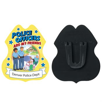 Gold Police Officers Are My Friends Plastic Badge - Personalization Available