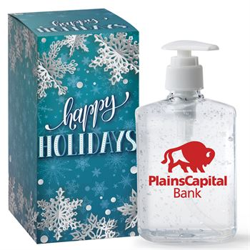 8-Oz. Hand Sanitizer Gel Pump In Holiday Gift Box - Personalization Available