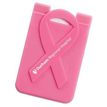 Pink Ribbon Phone Wallet With Awareness Card - Personalization Available