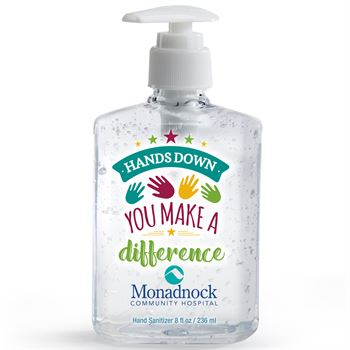 Hands Down You Make A Difference 8-Oz. Sanitizer Gel Pump - Personalization Available