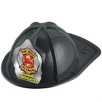 Black Junior Firefighter Hat (Helmet & Axes) With Personalization