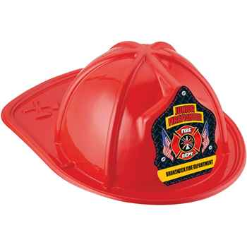 Red Junior Firefighter Hat With Maltese Cross & American Flags With Personalization