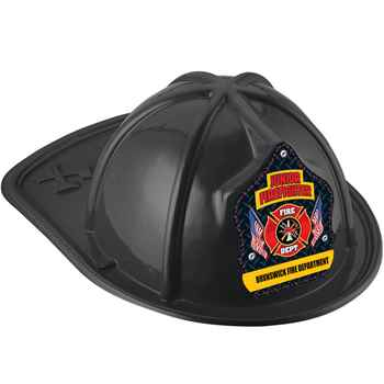 Black Junior Firefighter Hat With Maltese Cross & American Flags With Personalization