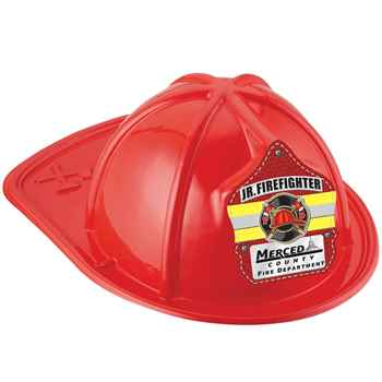 Red Junior Firefighter Hat With Maltese Cross & Yellow Stripe With Personalization