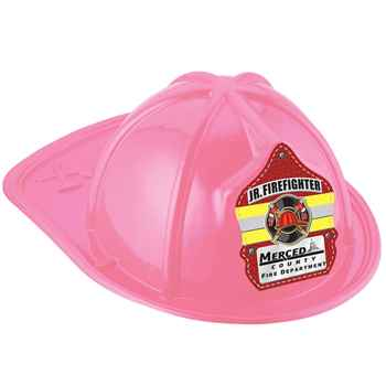 Pink Junior Firefighter Hat With Maltese Cross & Yellow Stripe With Personalization