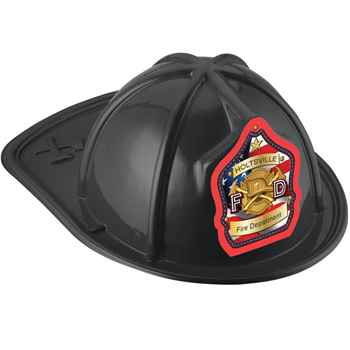 Black Junior Fire Chief Hat On American Flag With Personalization