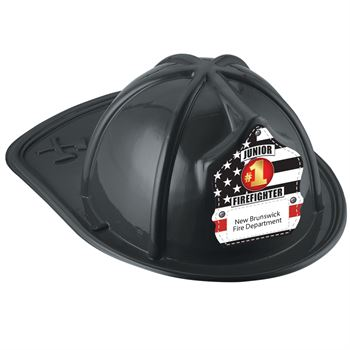 Black Junior Firefighter Hat With #1 Firefighter With Personalization