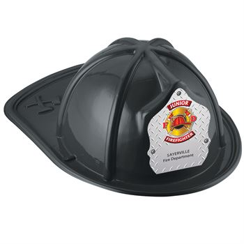 Black Junior Firefighter Hat With Maltese Cross On Silver With Personalization